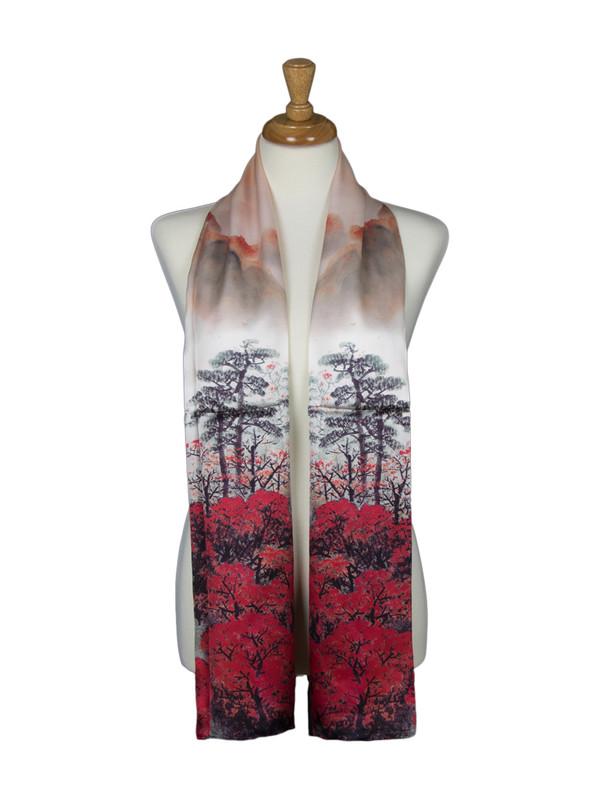 AamiraA Forest Mountain Soft Mulberry Satin Silk Stole Women Long Scarf