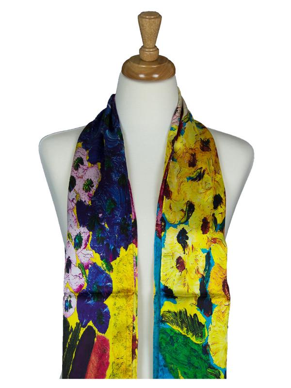 AamiraA Multicolor Flowers Soft Mulberry Satin Silk Stole Women Long Scarf