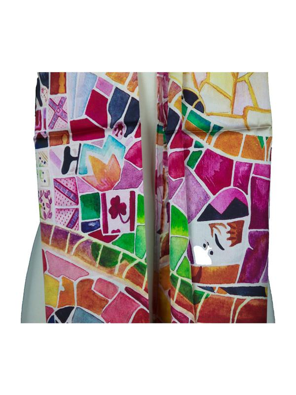 AamiraA Mosaic Designer Soft Mulberry Satin Silk Stole Women Long Scarf