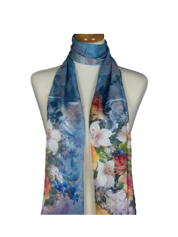 AamiraA Mesmerising Floweret Soft Mulberry Satin Silk Stole Women Long Scarf