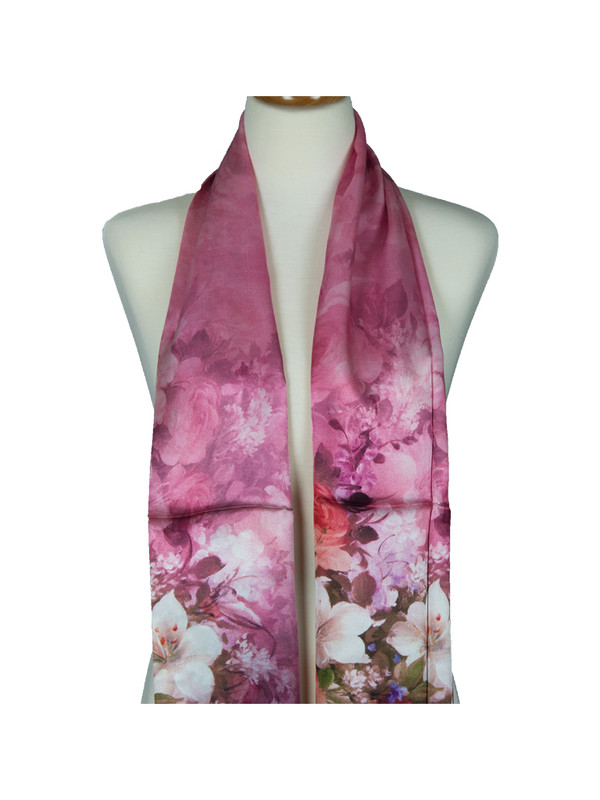 AamiraA Pink Flower Bouquet Soft Mulberry Satin Silk Stole Women Long Scarf
