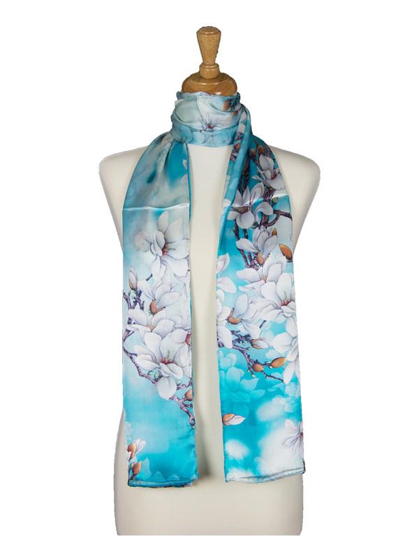 AamiraA White Amaryllis Flowers Soft Mulberry Satin Silk Stole Women Long Scarf