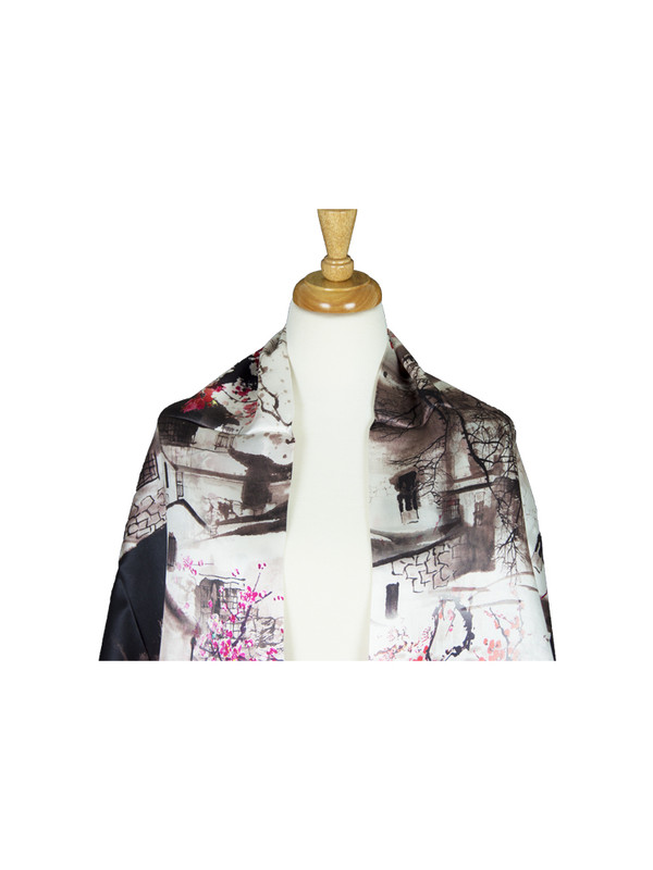 AamiraA Cherry Blossom Mulberry Satin Silk Stole Women Square Scarf
