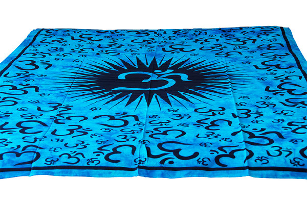 Twin Blue Om Mandala Tapestry Bohemian Wall Hanging Throw Dorm Decor