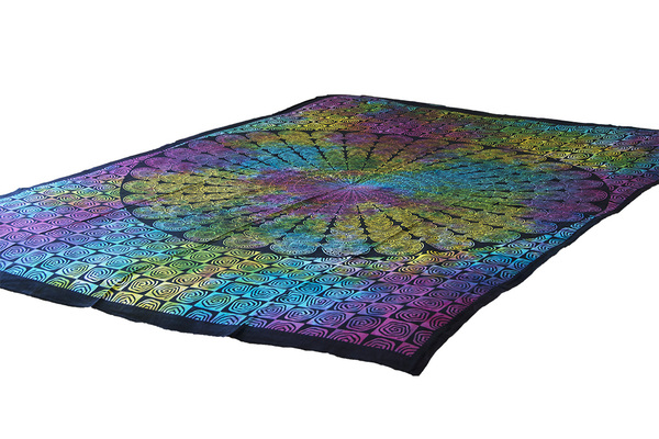 Twin Multi-color Spiral Mandala Tapestry Bohemian Wall Hanging Throw Dorm Decor