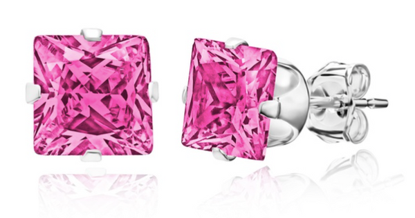 925 Sterling Silver 2.5 CTW Genuine Square Pink Sapphire Earrings