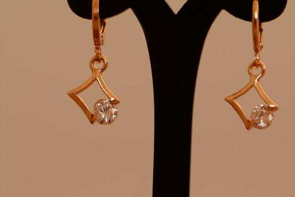 18K Gold Dia Zircon AAA Designer Dangle Brass Earrings