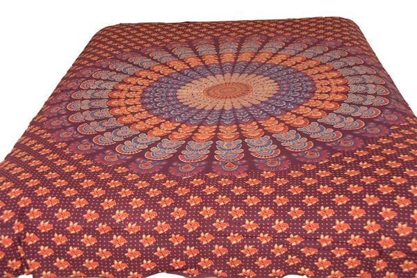 Hippie Maroon Orange Mandala Tapestry Bohemian Wall Hanging Throw Dorm Decor