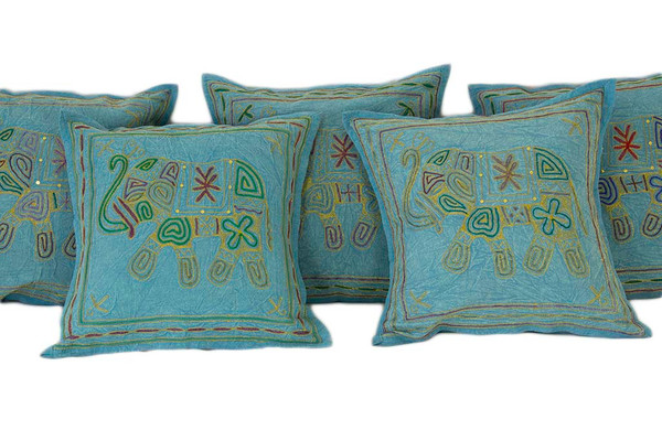 Exotic Kantha Embroidery Elephant Blue Cushion Covers Decorative Pillow Case