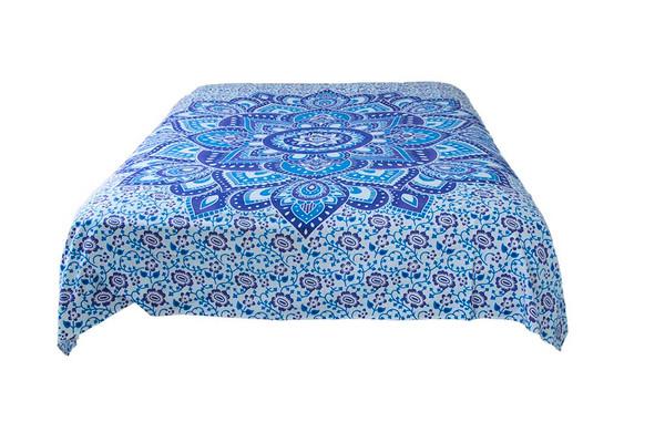 Hippie Blue Lotus Mandala Tapestry Bohemian Wall Hanging Throw Dorm Decor