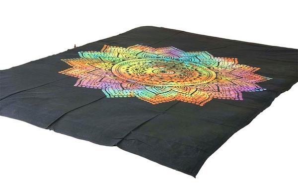 Bright Tie-Dye Lotus Mandala Tapestry Bohemian Wall Hanging Throw Decor