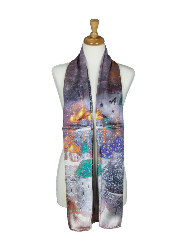 AamiraA Snowfall Night Scene Soft Mulberry Satin Silk Stole Women Long Scarf