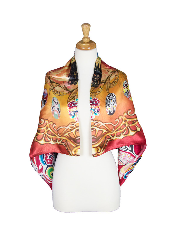 AamiraA Tribal Faces Mulberry Satin Silk Stole Women Square Scarf