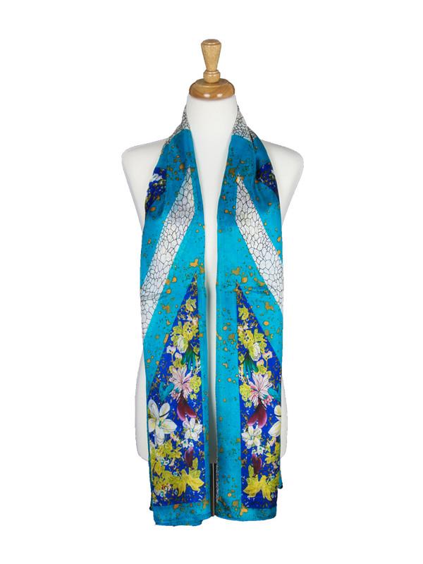 AamiraA Blue Soft Mulberry Chiffon Silk Stole Women Oblong Scarf