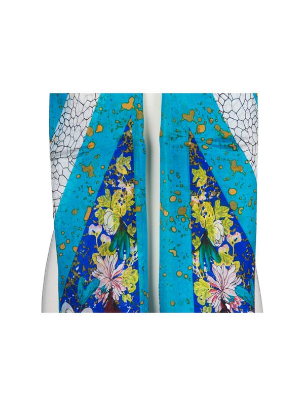 Blue Soft Mulberry Chiffon Silk Stole Women Oblong Scarf