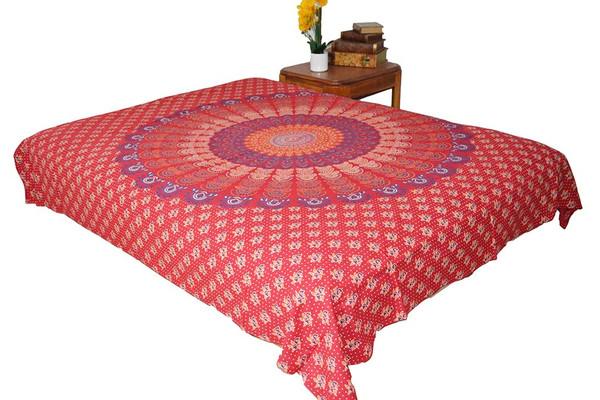 Hippie Red Mandala Tapestry Bohemian Wall Hanging Throw Dorm Decor