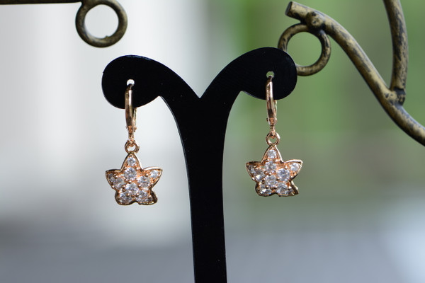 18K Gold Starfish Zircon AAA Designer Dangle Brass Earrings
