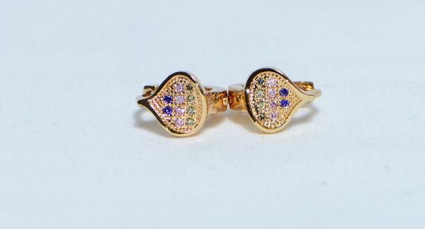 18K Gold Spades Zircon AAA Designer Brass Earrings