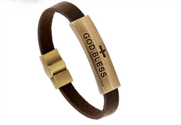 """Christian Religious """"God Bless"""" Jesus Genuine Leather Strap Unisex Bracelet"""