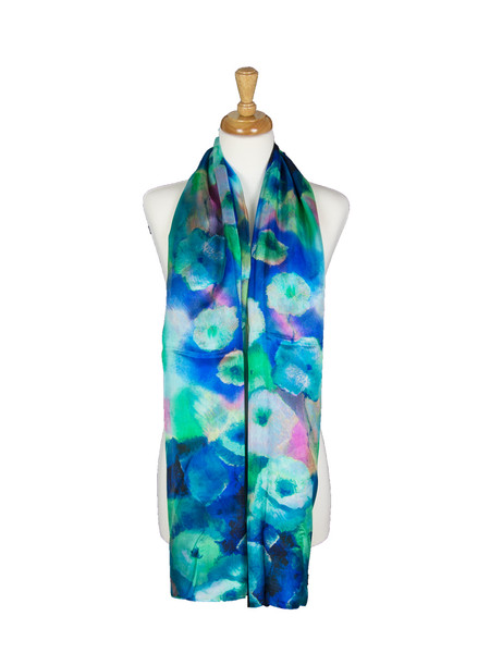 AamiraA Colorful Flowers Mulberry Chiffon Silk Stole Women Scarf