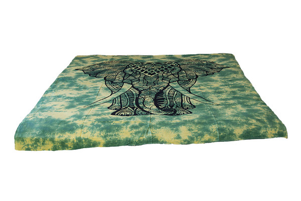 Twin Tie-Dye Green Elephant Mandala Tapestry Bohemian Wall Hanging Throw Dorm Decor