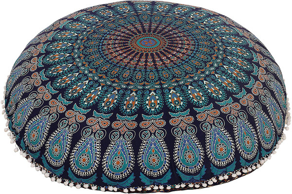 Mustard Blue Mandala Pillow Ottoman Poufs Cushion Covers