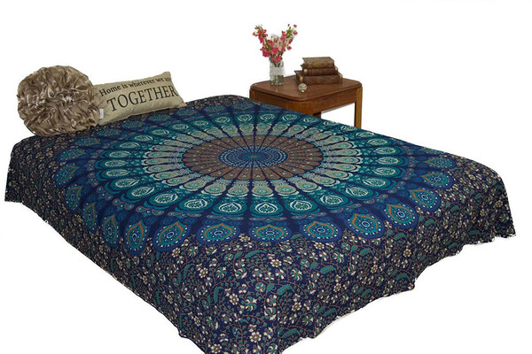 Hippie Blue Mustard Mandala Tapestry Bohemian Wall Hanging Throw Dorm Decor