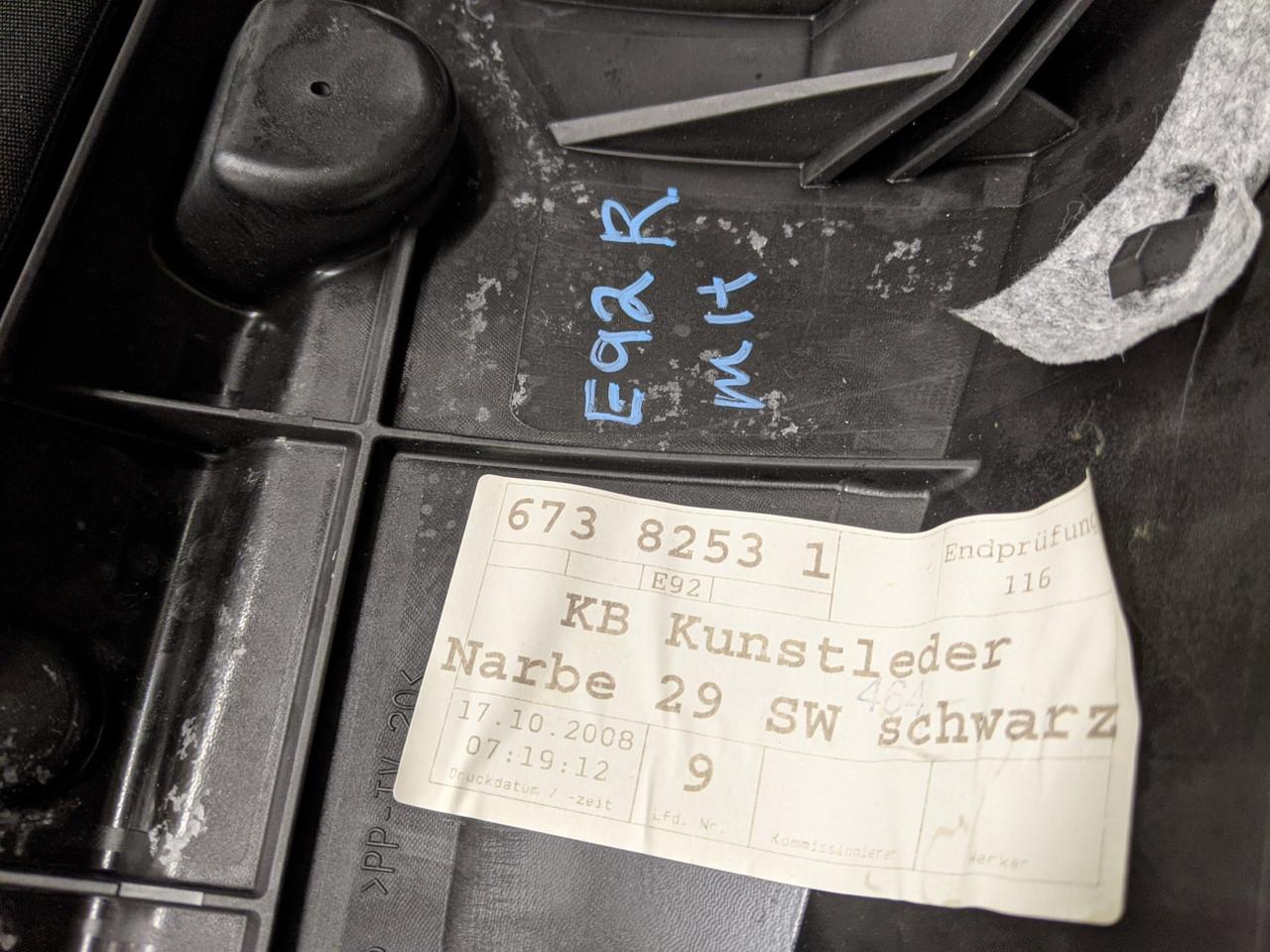 BMW E92 3-Series Coupe Rear Seat Bolster Right Sensatec Black 6738253