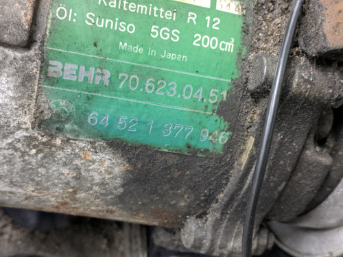 BMW E30 3-Series Air Conditioning A/C Compressor Pump Behr 64521377946