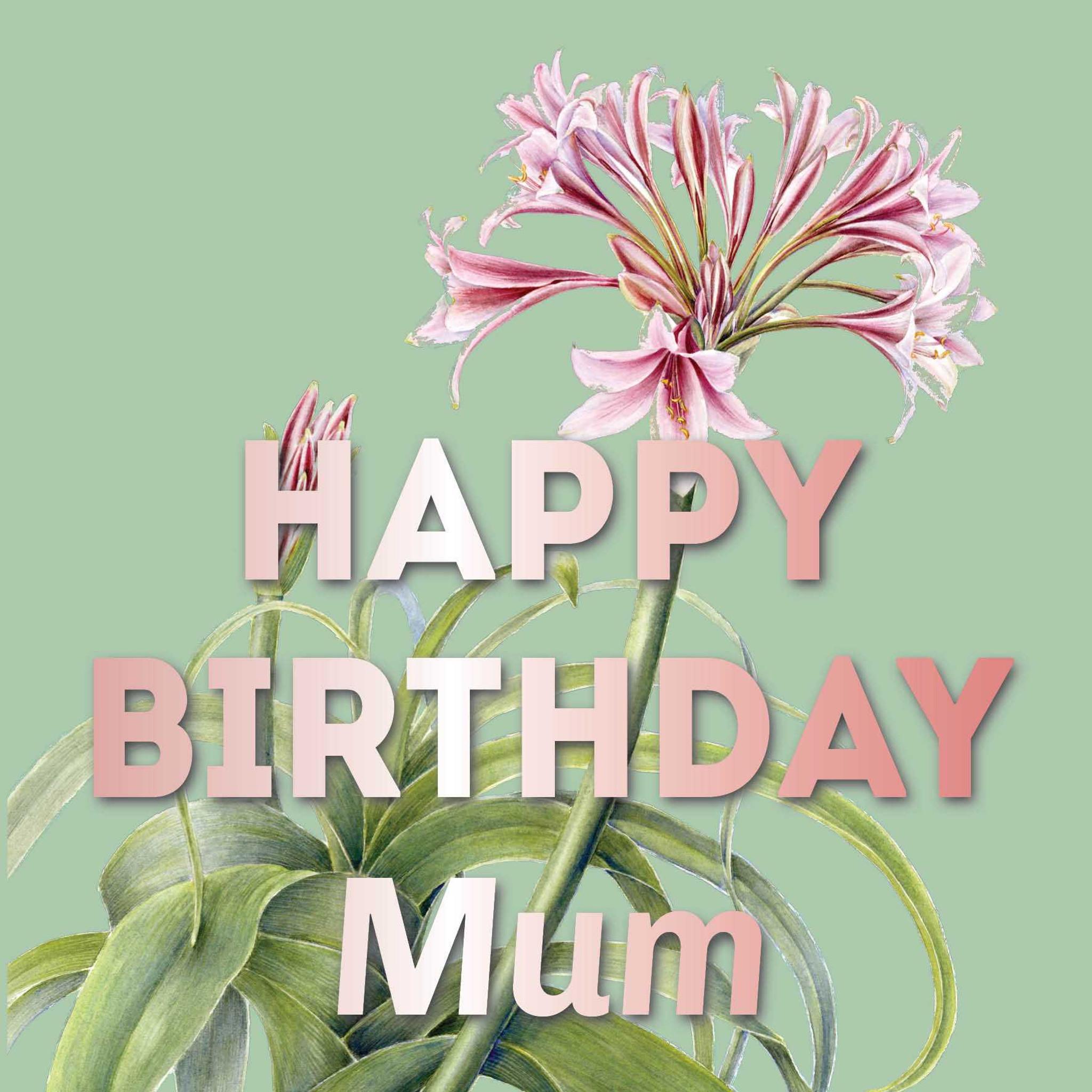 Mum Birthday Greeting Card Happy Birthday Mum Freeshipping Zaquarella
