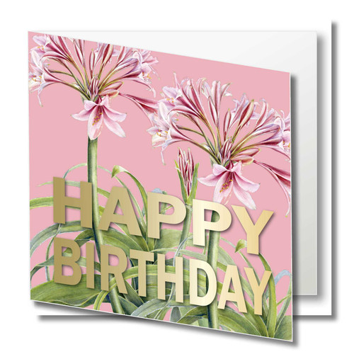 Birthday Greeting Card , Pink Lily flower , Floral , Happy Birthday , Blank Inside ,  gold foil text , Botanical Watercolour ,