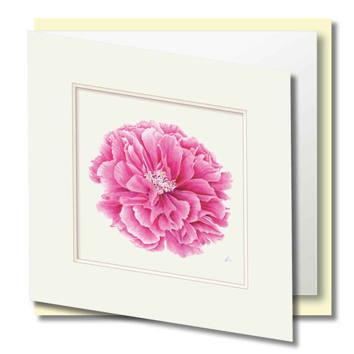 Floral Greeting Card , Pink Peony flower , Embossed Frame , Blank Inside , Botanical Watercolour ,
