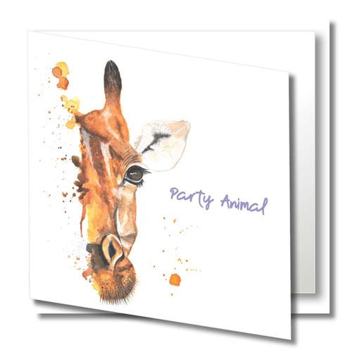 Birthday Greeting Card , Party Animal , Giraffe , Happy Birthday , Wild Animals , Blank Inside , Original Watercolour Art
