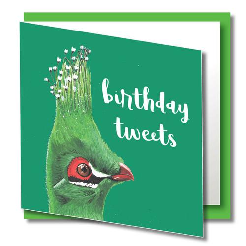 Birthday Greeting Card , Birthday Tweets , Green Bird , Happy Birthday , Wild Animals, Blank Inside , Original Watercolour Art