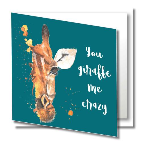Birthday Greeting Card , You Giraffe me Crazy, Fun Romantic , Wild Animals , Teenager Birthday, Blank Inside , Original Watercolour Art
