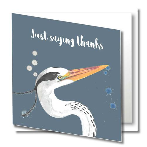 Thanks Greeting Card , Heron Just Saying Thanks , Thank You , Wild Animals , Blank Inside , Original Watercolour Art