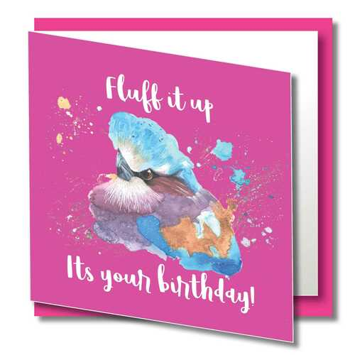 Birthday Greeting Card , Fluff it , Happy Birthday , Wild Animals , Blank Inside , Original Watercolour Art