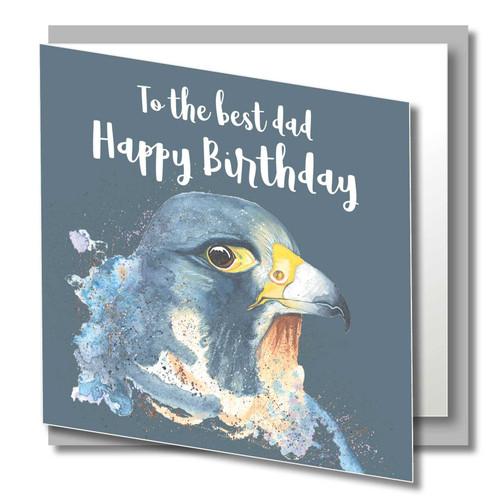 Birthday Greeting Card , Best DAD , Happy Birthday Dad , Wild Animals , Eagle , Blank Inside , Original Watercolour Art