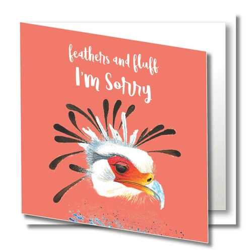Sorry Greeting Card , I'm Sorry , Bird , Wild Animals , Orange, Blank Inside , Original Watercolour Art