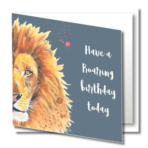 Birthday Greeting Card , Roaring Birthday , Happy Birthday , Wild Animals , Blank Inside , Original Watercolour Art