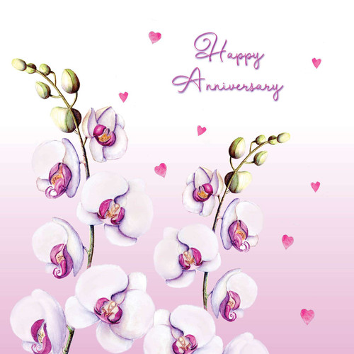 Anniversary Greeting Card - Happy Anniversary - Beautiful orchid, butterflies and hearts
