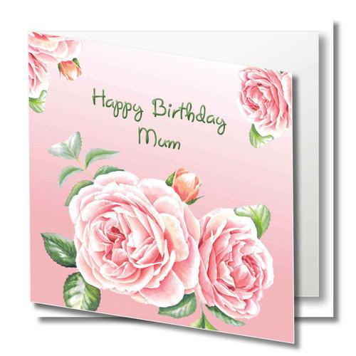 Mum birthday greeting card pink rose original Modern