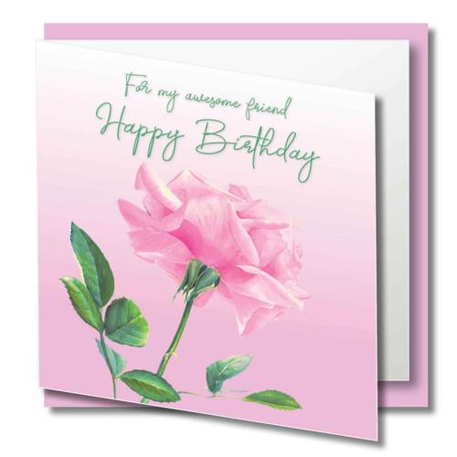 friend birthday greeting card beautiful pink rose original