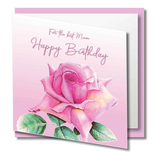 mum birthday greeting card beautiful pink rose original