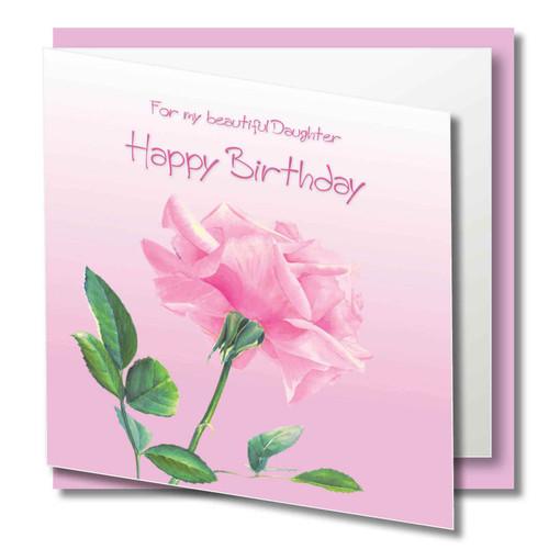 daughter birthday greeting card beautiful pale pink rose