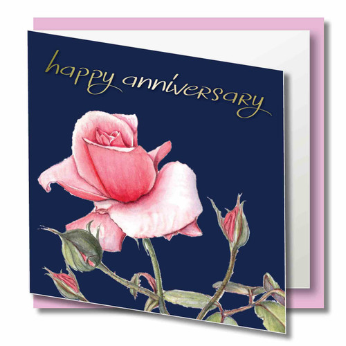 Anniversary Greeting Card - Happy Anniversary - Pink Rose Flower - Pale Gold foil Text on Navy Background - Floral Watercolour Art Fine Text
