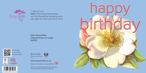 Happy Birthday Greeting Card - Beautiful Modern Floral - Sally Holmes Rose - my angel - Sky Blue Background with Peach Text Watercolour