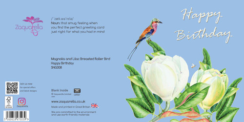 Happy Birthday Greeting Card - Beautiful Modern Floral - White Magnolias with Lilac Breasted Roller Bird - Sky Blue Background with White Text Watercolour
