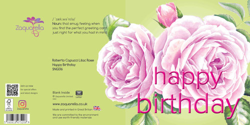 Happy Birthday Greeting Card - Beautiful Modern Floral - Roberto Capucci Lilac Rose - Chartreuse Background with Pink Text Watercolour