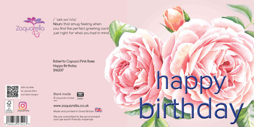 Happy Birthday Greeting Card - Beautiful Modern Floral - Roberto Capucci Pink Rose - Pink Blush Background with Navy Text Watercolour